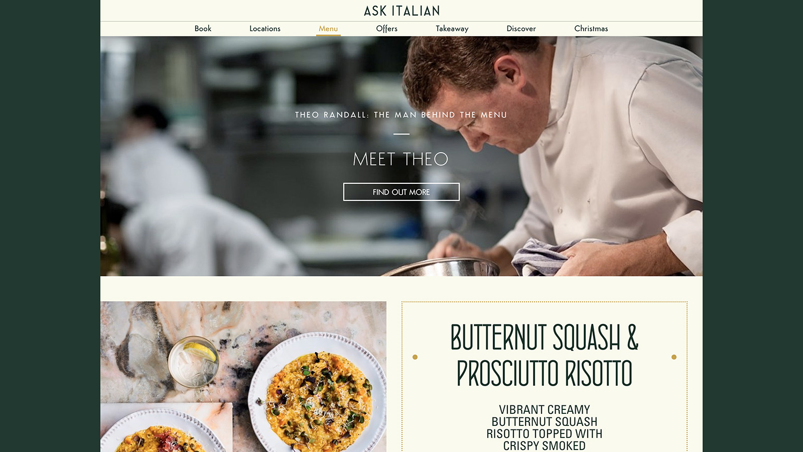 Ask Italin restaurant website art direction and design