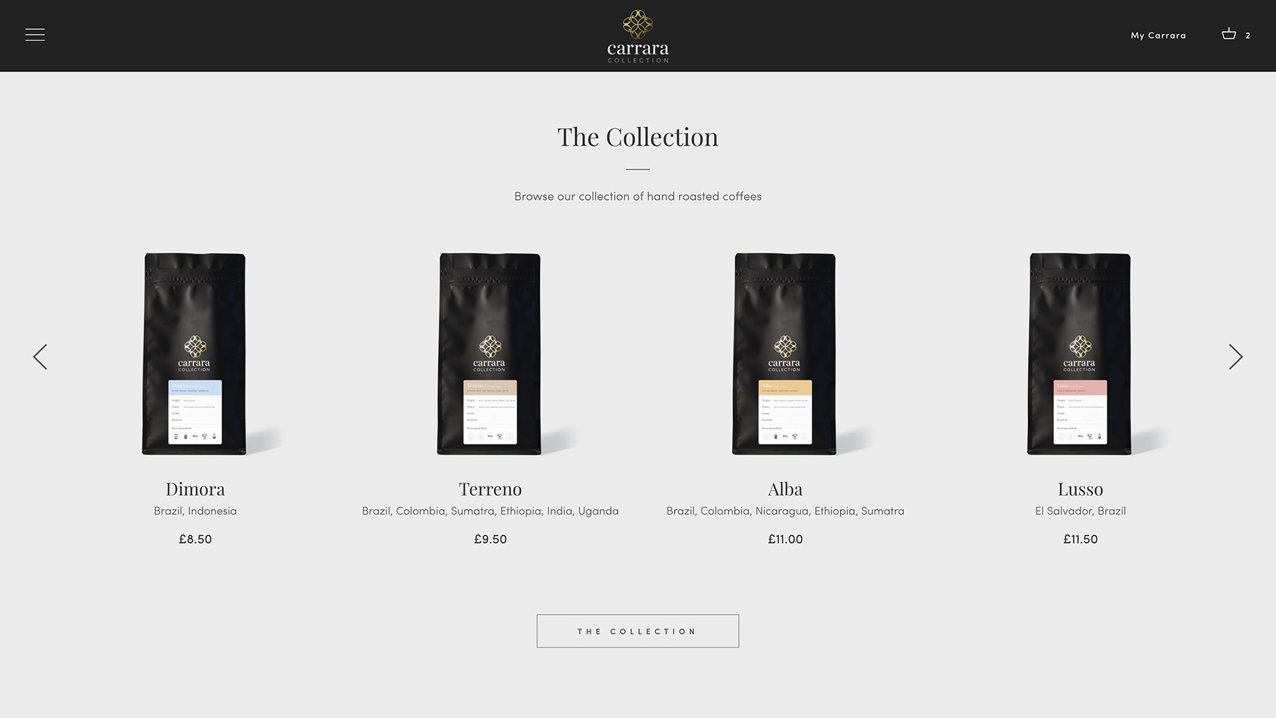 Carrara Collection online shop design and development