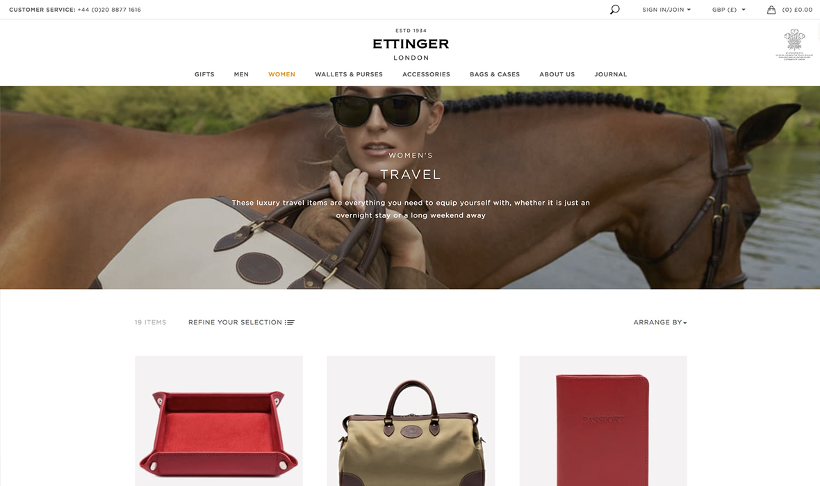 Ettinger luxury online store design