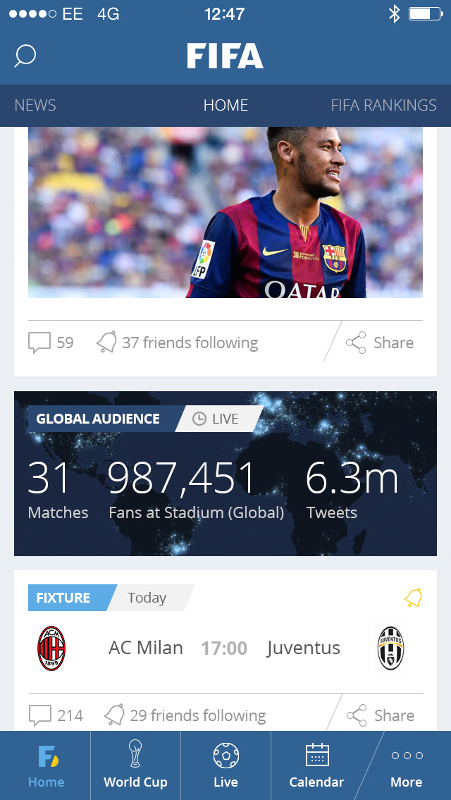 FIFA global iphone app design