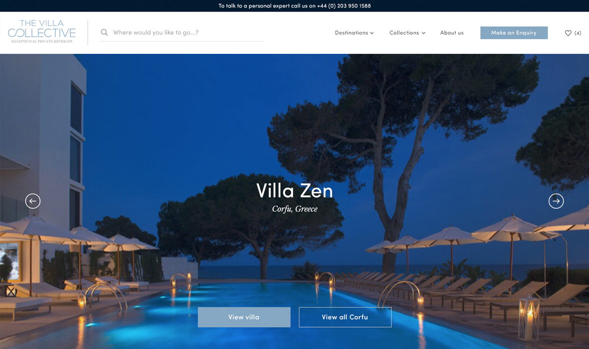Luxury villa website design and development